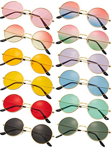 12 Pairs Round Sunglasses Retro 60's Style Circle Tinted Lens Glasses Vintage Round Hippie Sunglasses for Men Women