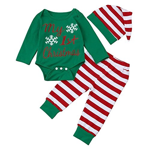 Mbby Tuta Neonato di Natale, 3-18 Mesi Completo Ragazza E Ragazzi 3 Pezzi Tute in Cotone Invernale Autunno Pagliaccetto + Pantaloni + Cappello Set Caldo Manica Lunga Leggera Antivento
