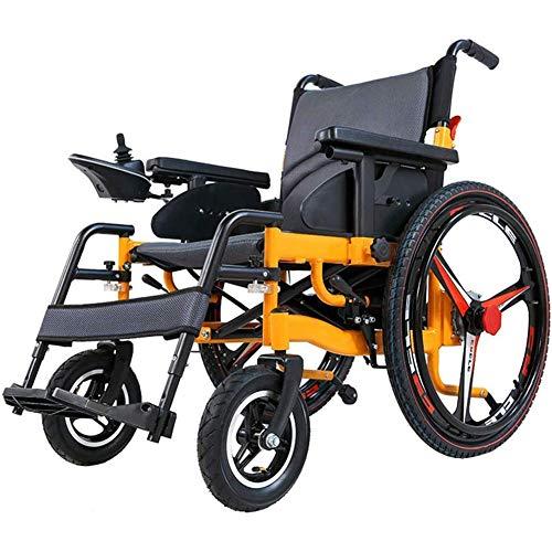 Silla de ruedas eléctrica plegable, silla de ruedas de ayuda a la movilidad power compact, silla de transporte con batería de iones de litio de polímero (controlador lateral derecho),Amarillo