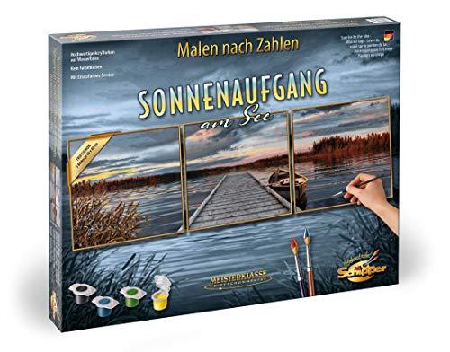 Schipper 609470754 - Malen nach Zahlen - Sonnenaufgang am See - Bilder malen für Erwachsene, inklusive Pinsel und Acrylfarben, 120 x 40 cm