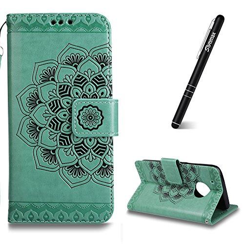Moto G5 Plus Hülle Grün,Moto G5 Plus Handyhüllen Leder,Slynmax Schutzhülle Wallet Flip Case Ledertasche Brieftasche Hardcase Stand Karteneinschub Magnetverschluß Tasche für Motorola Moto G5 Plus