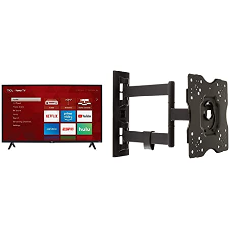 TCL 40S325 40 Inch 1080p Smart LED Roku TV (2019) & Amazon Basics Heavy-Duty, Full Motion Articulating TV Wall Mount for 22-inch to 55-inch LED, LCD, Flat Screen TVs