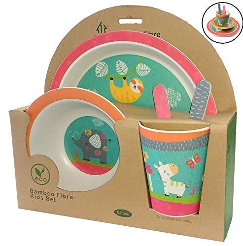 Vaisselle en Bambou Bébé et Enfant ♻ Ensemble de Vaisselle en Fibre de Bambou - Matériau Écologique, Bio, sans BPA - Passe au Lave-Vaisselle - Set de 5 Pcs Assiette, Bol, Cuillère, Fourchette et Tasse