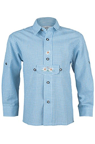 Isar-Trachten Jungen Trachten Kinderhemd hellblau, hellblau, 86