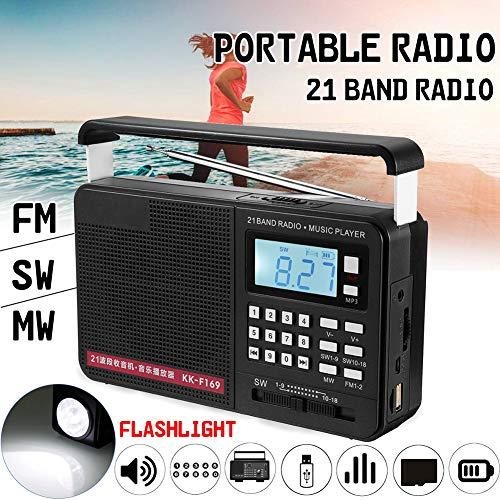 DJG Radio, FM/MW/SW Hand Vollbereich- Internationales LED-Radio mit Taschenlampe MP3-Player Mikro-TF USB-Außeneinsatz
