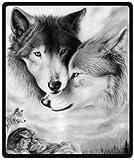 Manta de viaje de felpa de lobo blanco y negro, 127 x 152 cm (mediana)