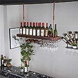Clásico 2 en 1 estante del vino colgar de la pared del hierro del vino y botellas de cristal de almacenamiento titulares [3060cm altura ajustable] bronce marco de techo for copas Bastidores