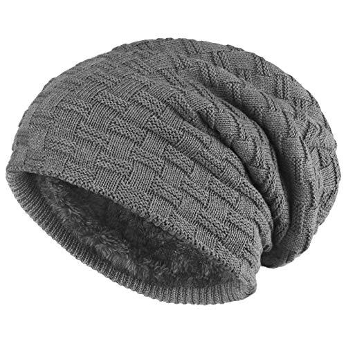 ALPIDEX Slouch Beanie Warme Wintermütze Strick Mütze Weiches Fleecefutter Damen Herren Winer Beanie, Farbe:Grey