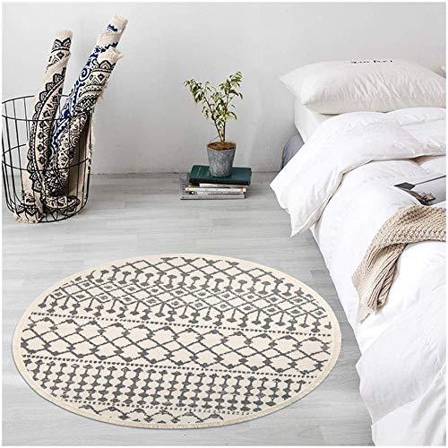 Pauwer Runder Teppiche Handgewebte Baumwolle Teppiche mit Quasten rutschfest Abwaschbar Teppiche für Wohnzimmer Schlafzimmer Kinderzimmer (Stil-b Weiß, Runde 120cm)