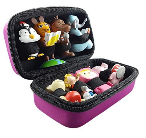 Tasche für Tonies Hörfiguren - PINK - geeignet für Toniebox: es finden bis zu 8 Tonie Figuren platz - Toniefiguren Tonifigur Aufbewahrung Transport-Tasche Transportbox Aufbewahrungs-Box Koffer Case