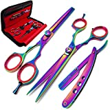 RAPRO RP-SS-04 Professional Hairdressing Scissors Set Includes Barber Razor Shear, Stylish Thinning Scissor, Straight Edge Cut Throat Razor with Hair Comb and Scissors Case (Multi Set USA)