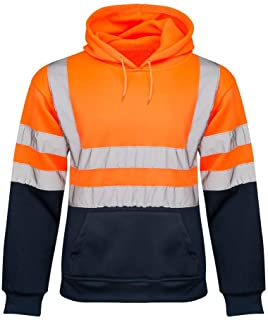 shelikes Mens no Zip 2 Tone Hi Vis Sweatshirt Tape Band Pull Over Security Hoody