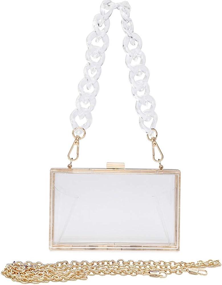 YXBQueen Clutch Purses for Women Clear Purse Acrylic Clear Clutch Bag Wedding Purses Cocktail Prom Clutches