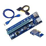 Nuevo 006C Pcie 1x a 16x Express Riser Card Graphics Pci-E Riser Extender 60Cm USB 3.0 Cable Sata a 6Pin Power para BTC Mining Blue