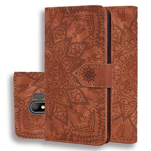 LINSHAOHUI Funda de piel con estampado de becerro, doble plegable, con cartera, soporte y ranuras para tarjetas para Galaxy J4 2018 (Versión UE) (negro) (color: marrón)