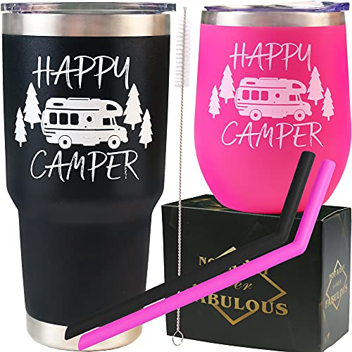 HappyCamperGiftsforCouples,Gifts for Camping, Camping Present Set, Camper Gift Ideas, Gift forCamper Owners, Gifts for Camping Lovers Outdoor, Happy CamperCupsMugsTumblers