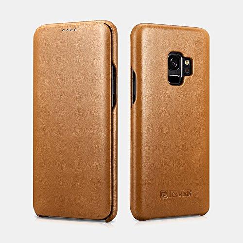 Galaxy S9case, Mangix Premium Samsung Galaxy S9custodia in vera curve Edge in stile vintage, con funzione di sostegno [touch ID] per Samsung Galaxy S9 Khaik