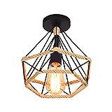 Lámpara de Techo Retro Vintage de Plafón Industrial jaula en forma de diamante de Metal con cuerda de cáñamo, hierro, lámpara colgante para salón, dormitorio, decoración de casa,25CM
