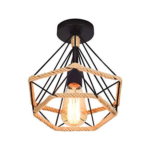 Lámpara de Techo Retro Vintage de Plafón Industrial jaula en forma de diamante de Metal con cuerda de cáñamo,hierro,lámpara colgante para salón,dormitorio,decoración de casa,25CM