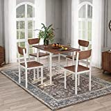 FLIEKS 5-Piece Modern Drop Leaf Dining Table Set with 4 Chairs Home Kitchen Furniture Dinette Set, Walnut Finish
