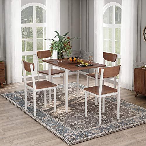 FLIEKS 5-Piece Modern Drop Leaf Dining Table Set with 4 Chairs Home Kitchen Furniture Dinette Set, Walnut Finish