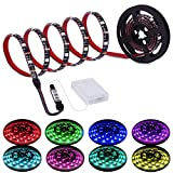 Led Strip Lights Battery Powered RGB LED Lights Strip Battery Operated Led Battery Lights with 3 Keys Controller Battery Led Strip Rope Lights 2M 6.56ft