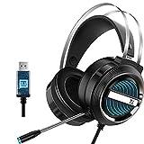 Leeofty X9 Stereo Gaming Headset 7.1 Virtual Surround Bass Auriculares para Juegos Over-Ear Auriculares para Juegos Enchufe USB Control de Volumen con micrófono Luz LED para computadora PC Gamer