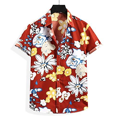 Shirt Ocio Hombre Manga Corta con Botones Transpirables Tapeta Cuello Kent Hombre T-Shirt Básica Estampado...