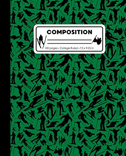 Composition: College Ruled Writing Notebook, Green Ski Snowboard Boy Pattern Marbled Blank Lined Book