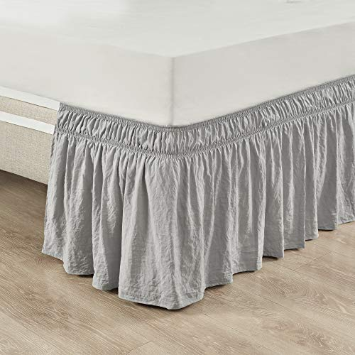 Lush Decor Ruched Ruffle Elastic Easy Wrap Around Bedskirt, Twin/Twin-XL/Full, Light Gray