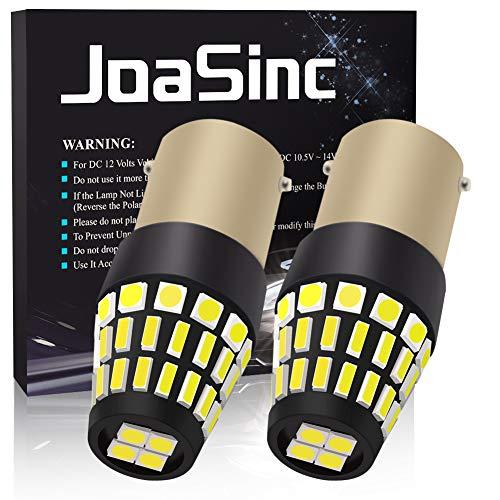 JoaSinc 2x 1156 BA15S Bombillas LED P21W 46SMD 4014 Coche Luz de Marcha Atrás, Luz de Freno, Luz de Estacionamiento, 12V 1000LM Blanco 6500K, 2 piezas, Garantía de 1 año