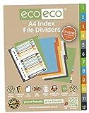 4ensembles X 12pk Eco-eco A450% recyclé de classement dossier Intercalaires en plastique