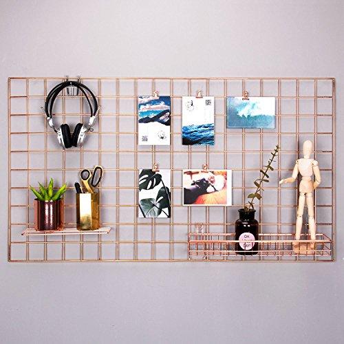 Rumcent Rose Gold Foto Aufhängen Raster Anzeigen Foto Wand Kunstwerk Prints Wand Rahmen Dekoration Grid Panel für Zimmer und Büro/Größe 96x 53,8cm/Rose Gold/Kupfer