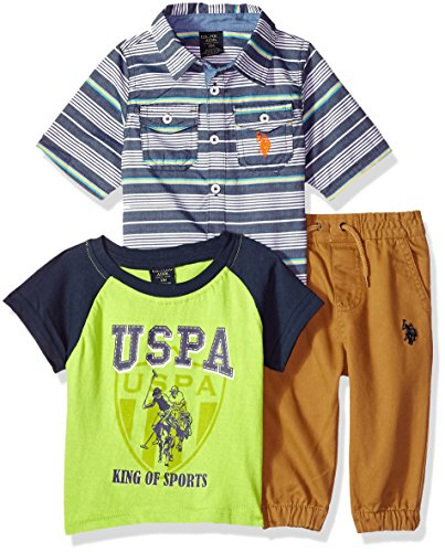 U.S. Polo Assn. Baby Boys Short Sleeve, T-Shirt and Pant Set, King of Sports Multi Plaid, 24M