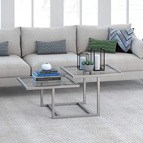"""Henn&Hart Modern Chic 2-Tier Coffee Table for Living Room, 18"""" H x 43"""" L x 23"""" W, Silver Nickel"""