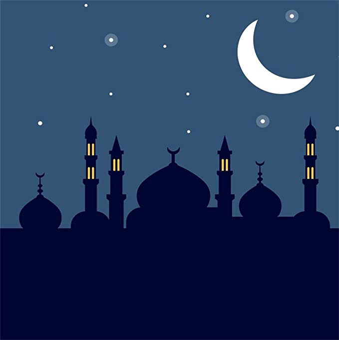 AOFOTO 7x5ft Mosque Silhouette in Night Sky Backdrop Islamic Crescent Moon Stars Photography Background Muslim Allah Holiday Magic Wish Mysterious Desert Arabian Nights Fairy Tale Props Vinyl