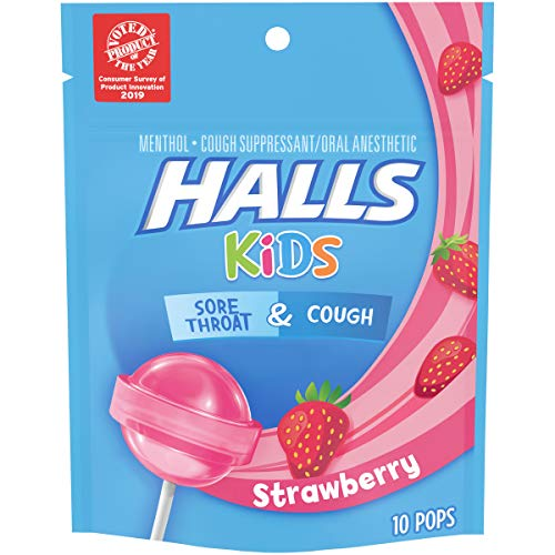 Halls Kids Pops Cough and Sore Throat Strawberry, 10 ct