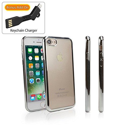 Apple iPhone 7 hoesje, BoxWave® [GlamLux hoesje met BONUS sleutelhanger oplader] Duurzaam hoesje met metalen gekleurde bekleding voor Apple iPhone 7 - Gunmetal Gray