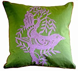 Decorative Yarn Embroidered Throw Pillow Cover