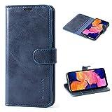 Mulbess Handyhülle für Samsung Galaxy A10 Hülle, Leder Flip Case Schutzhülle für Samsung Galaxy A10 / M10 Tasche, Dunkel Blau