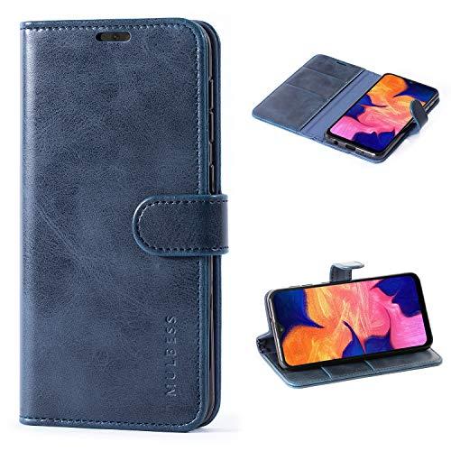 Mulbess Handyhülle für Samsung Galaxy A10 Hülle, Leder Flip Hülle Schutzhülle für Samsung Galaxy A10 / M10 Tasche, Dunkel Blau