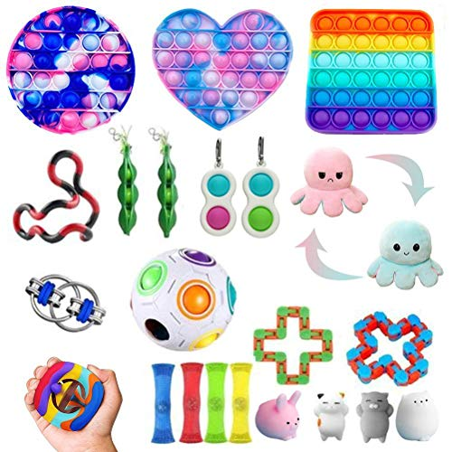 22pcs-Stress Relief Toy, Sensory Fidget Toys Set, Sensory Therapy Toys for ADHD Autism Stress Anxiety, Squeezing Hand Toys for Kids Adults Party Gifts