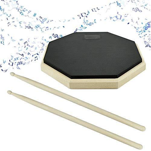 SNAGAROG 8 Zoll Schlagzeug Übungspad Drum Practice Pad mit Drumsticks,Gummi Oberfläche, Holzsockel, für Schlagzeugspieler Anfänger