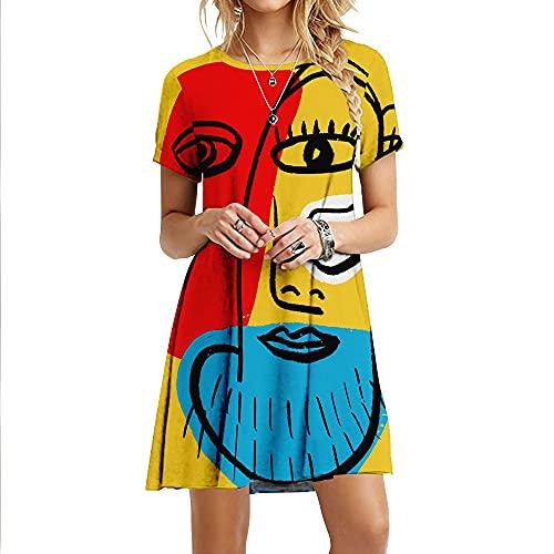 Vestido Largo Bohemio,Vestidos De Mujer Suave Y Cómodo Figuras Abstractas Estampado 3D Manga Corta Talla Grande Maxi Vestido Swing Falda Fiesta De Verano Bata De Todos Los Días Playa Vestidos Larg