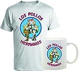 bubbleshirt Coppia T-Shirt e Tazza Mug in Ceramica Breaking Bad Los Pollos Hermanos - Heisenberg - Walter White - Serie TV - Idea Regalo