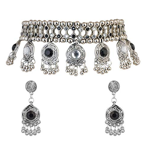 Jwellmart Jewellery Bollywood Ethnic Oxidised Silver Plated Traditional Indian Stone Choker Necklace Set with Earrings for Women black
