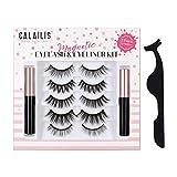 CALAILIS Magnetic Eyeliner and Eyelashes Kit 3D Faux Mink Fake Eye Lashes No