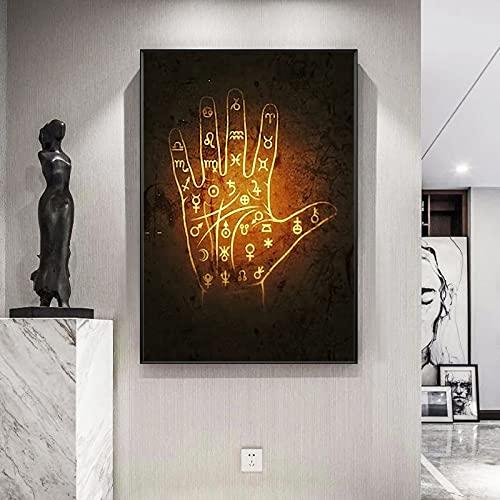 Yegnalo Cuadro En Lienzo Carteles y Decoraciones de Pared para el salón de Arte árabe islámico,50x75cm,Pintura sin Marco