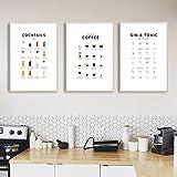 Caffè Guida Poster Gin and Tonic Cocktail Menu Manuale Stampa su tela Pittura Cucina Wall Art Immagini Cafe Bar Club Decor 50x70cmx3 Senza cornice