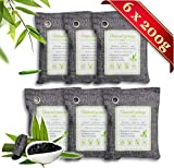 FOYO Bamboo Charcoal Air Purifying Bag(6 Pack) Activated Charcoal Odor Absorber Moisture Absorber Car Odor Eliminators for Home Charcoal Bags Odor Absorber (200gx6)